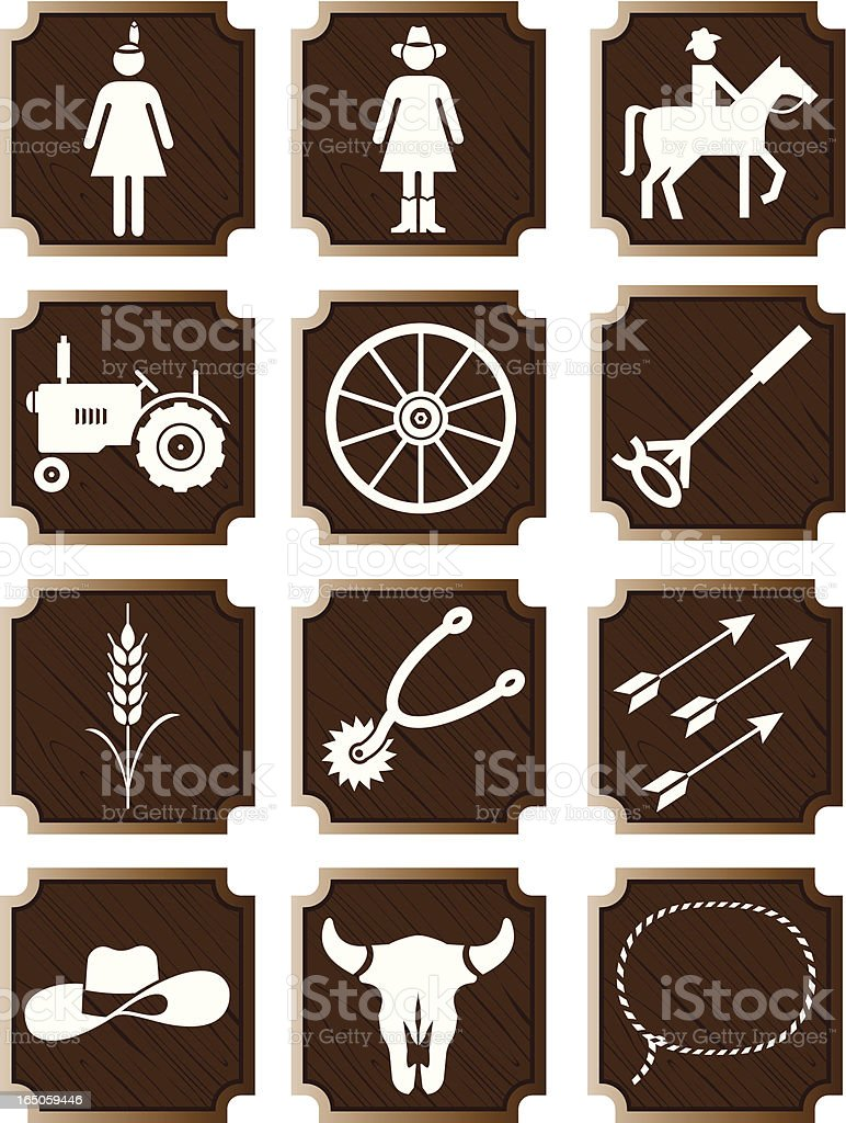 Country and western icons: series two vector art illustration