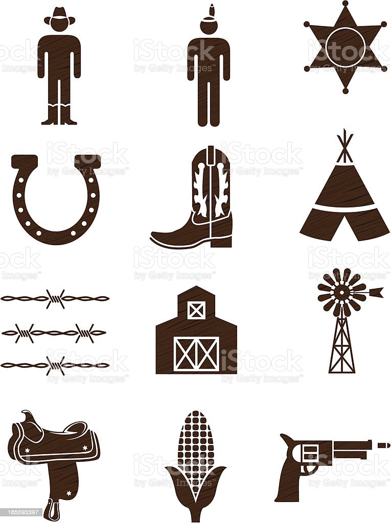 Country and western icons woodgrain: series one vector art illustration