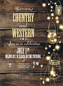 Country and western invitation design template  string lights