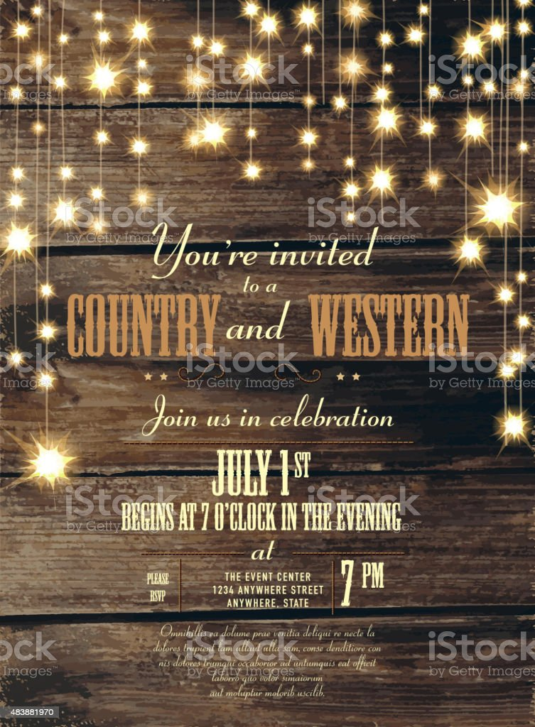 Country and western invitation design template  string lights vector art illustration