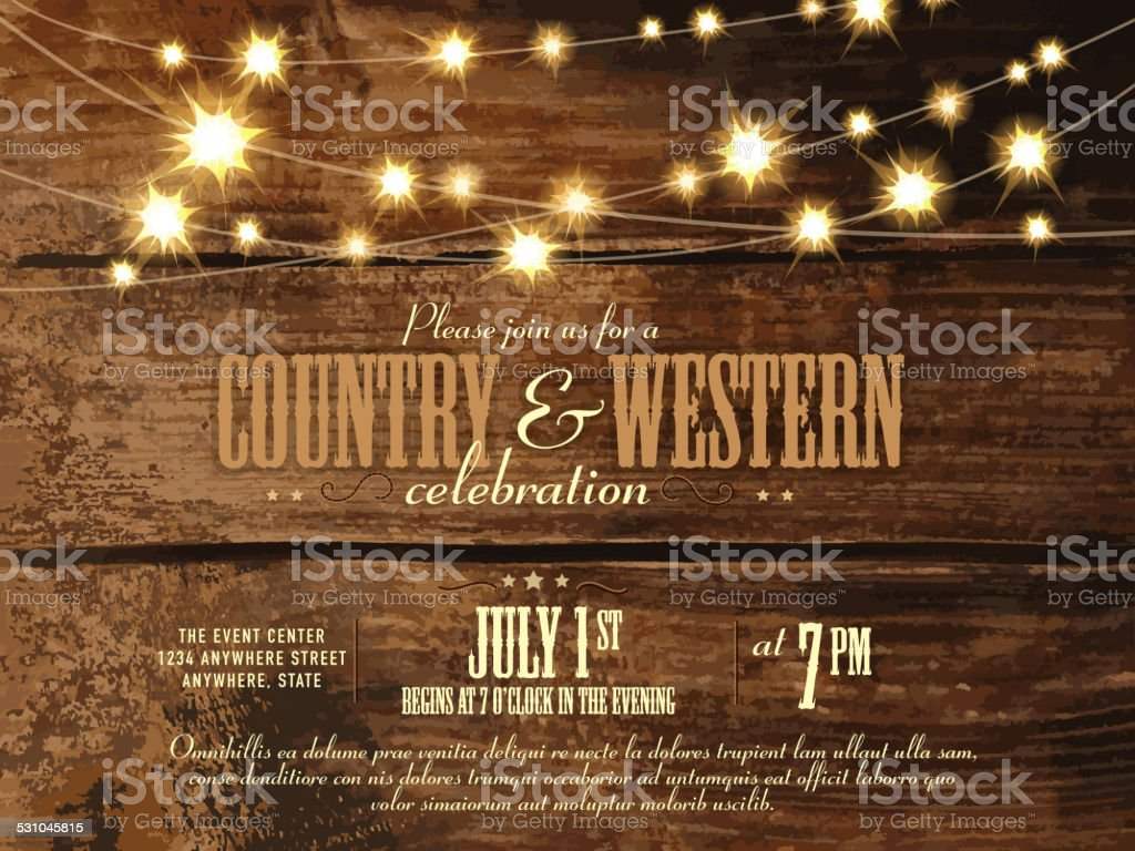 Country and western invitation design template with string lights vector art illustration