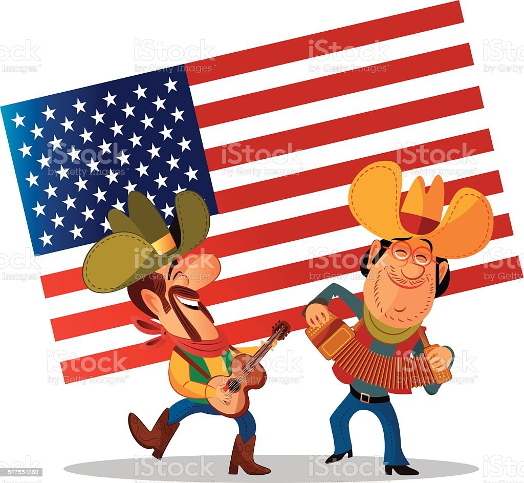 Country and Western Music vector art illustration