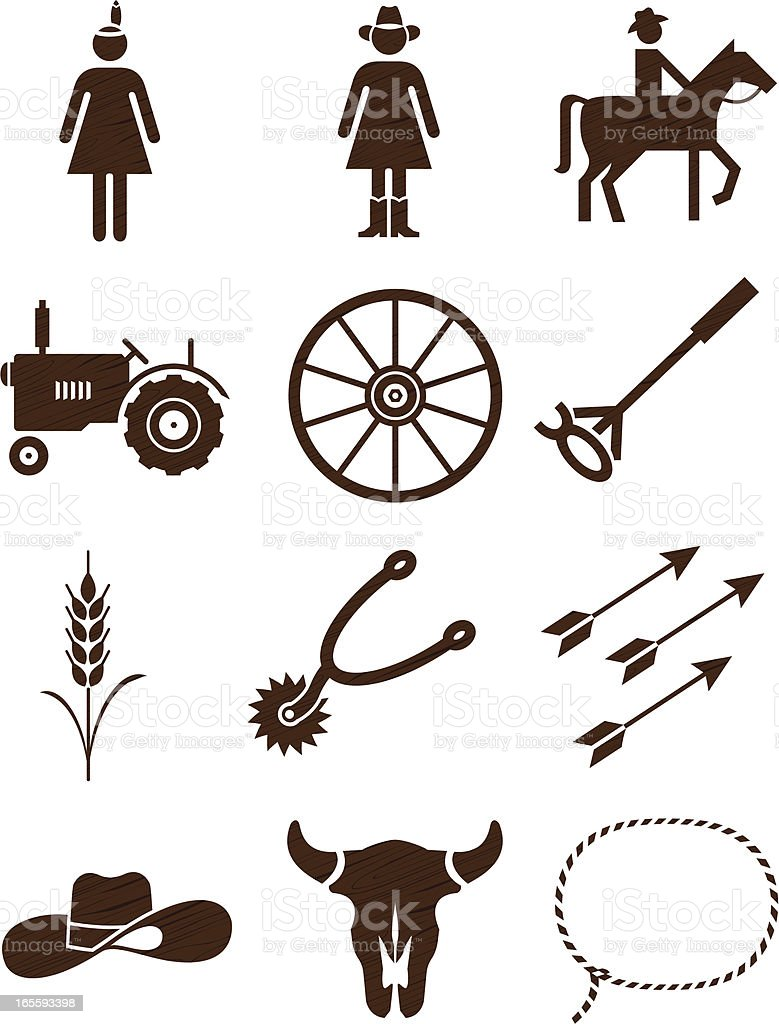 Country and western woodgrain icons: series two vector art illustration