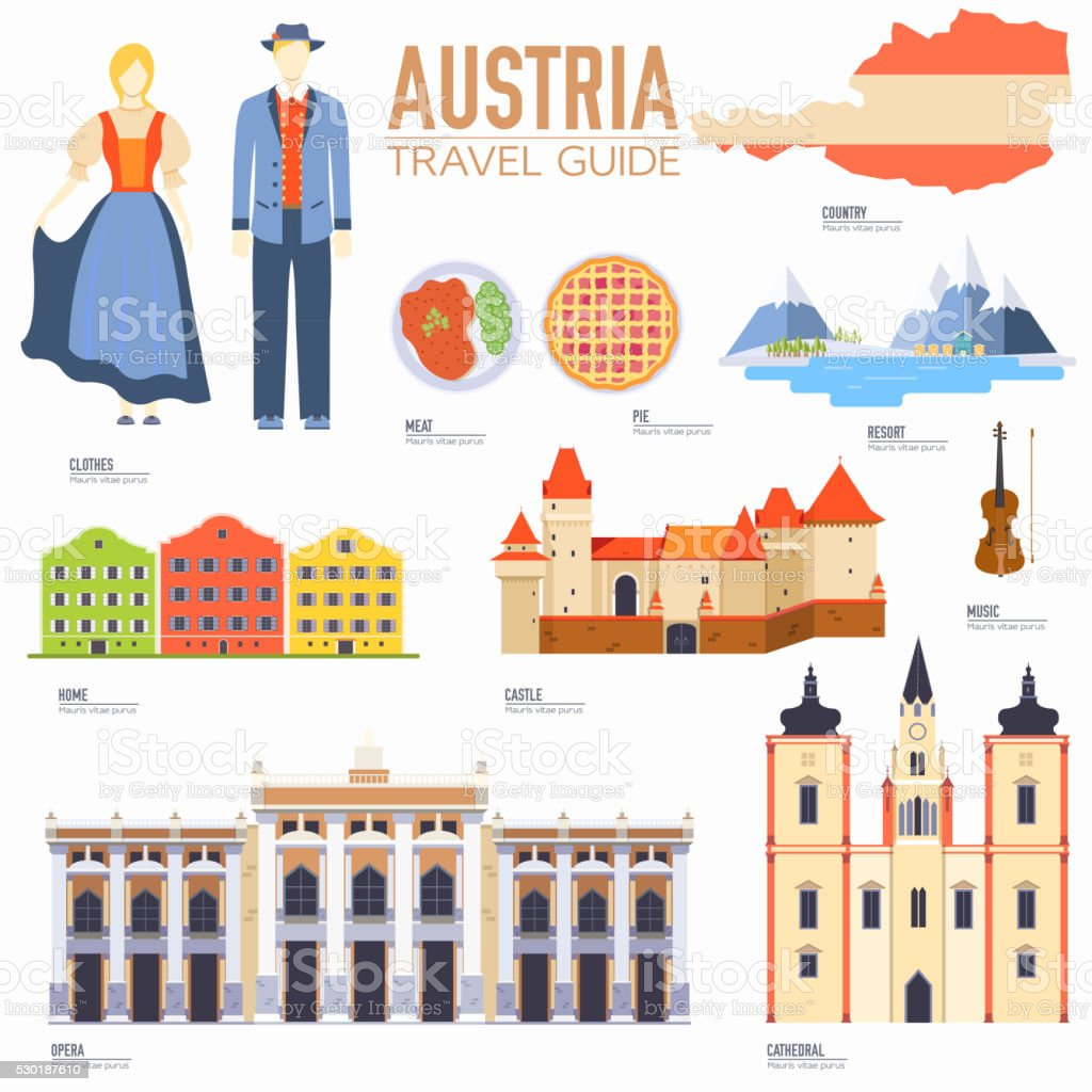 Country Austria travel vacation guide of goods, places and features. vector art illustration