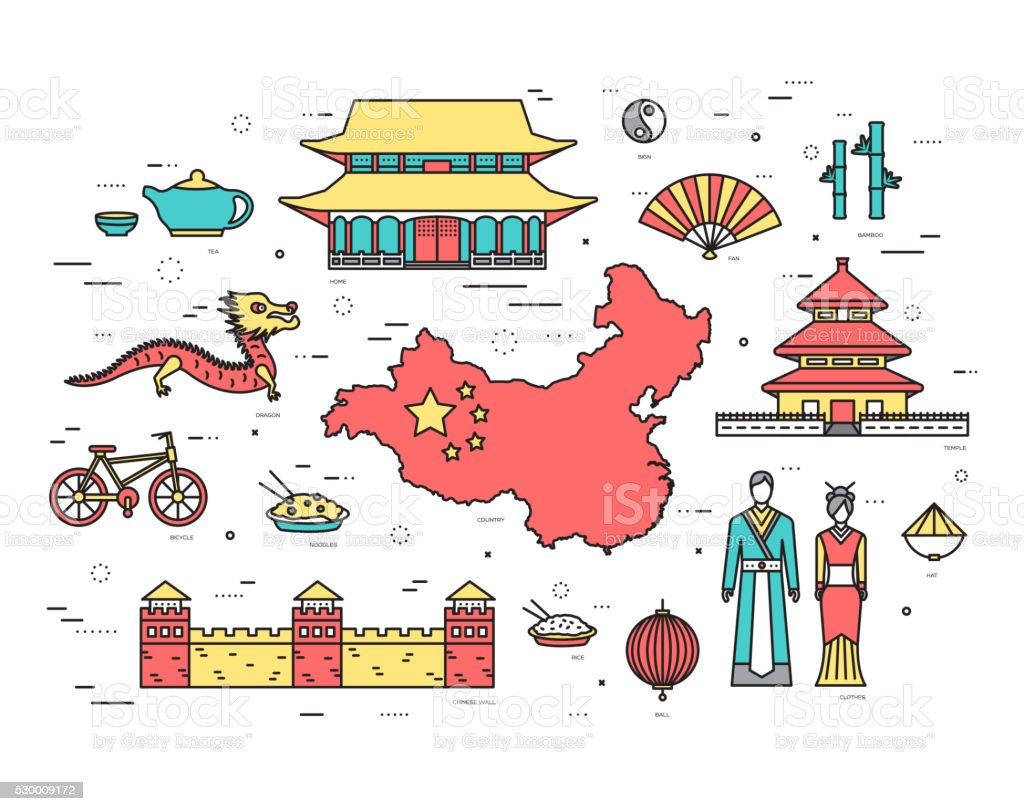 Country China travel vacation guide of goods in thin lines vector art illustration