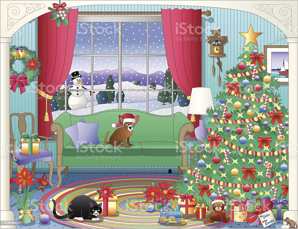 country Christmas living room vector art illustration