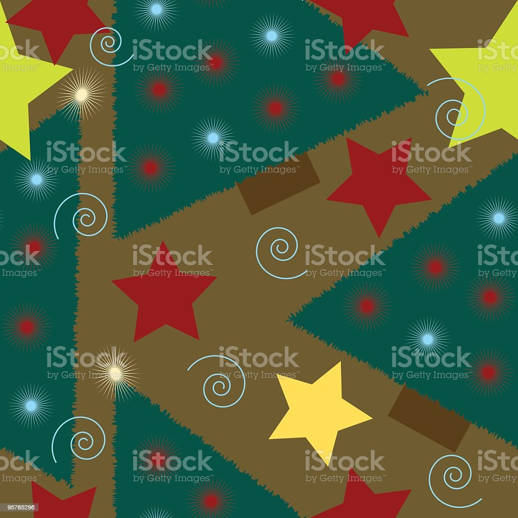 Country Christmas Tree seamless background tile royalty-free stock vector art