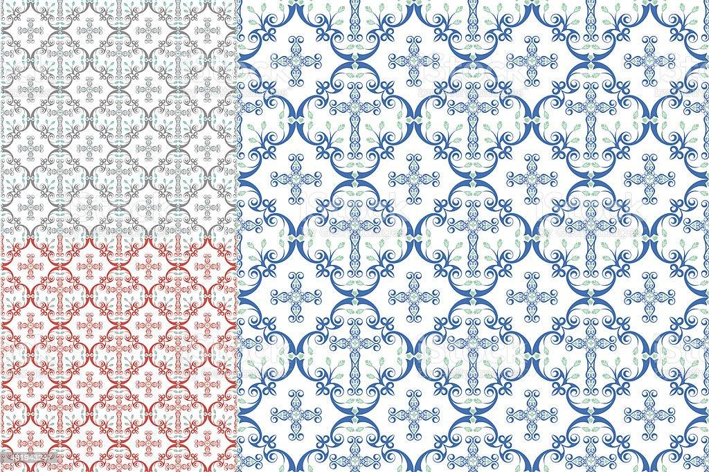 Country Cross Seamless Patterns vector art illustration