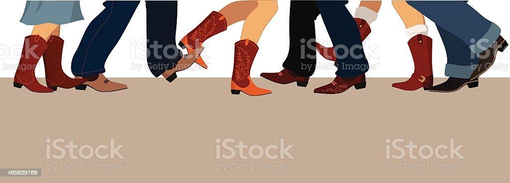 Country dancing banner vector art illustration