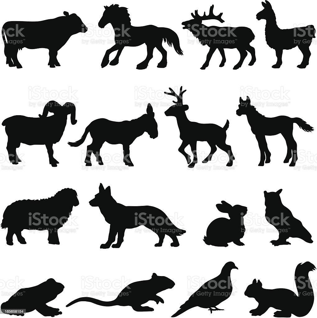 Country farm animal silhouettes vector art illustration