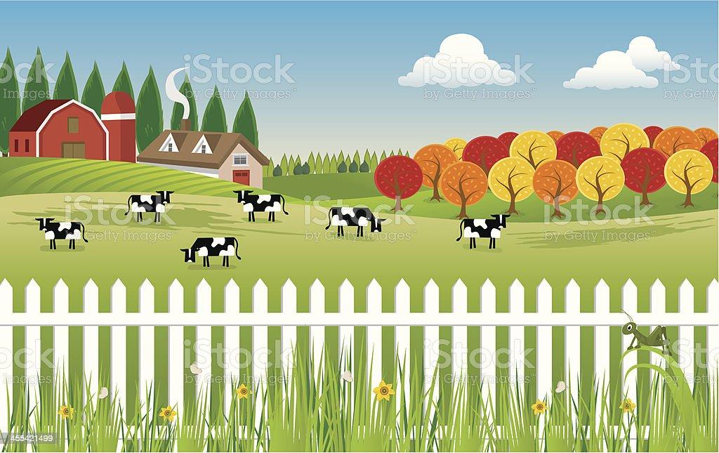 Country Farm vector art illustration