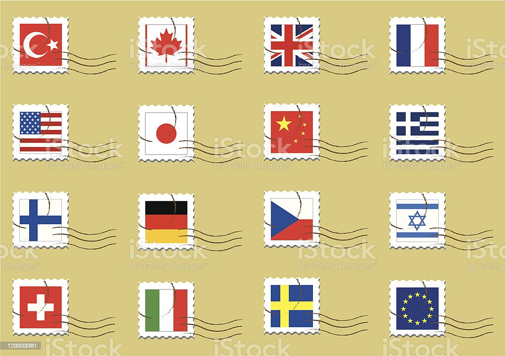 Country flags stamps set royalty-free stock vector art