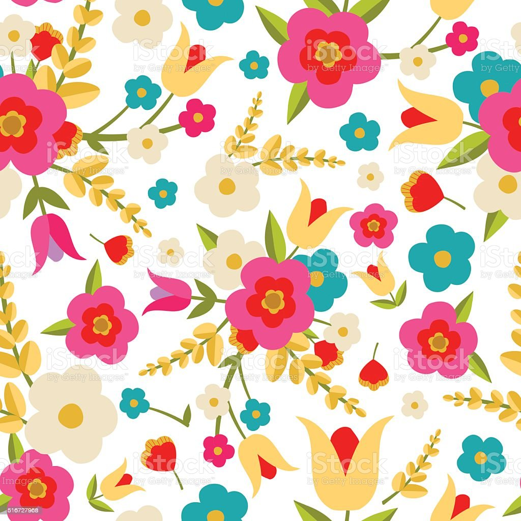 Country Flowers Seamless Pattern vector art illustration