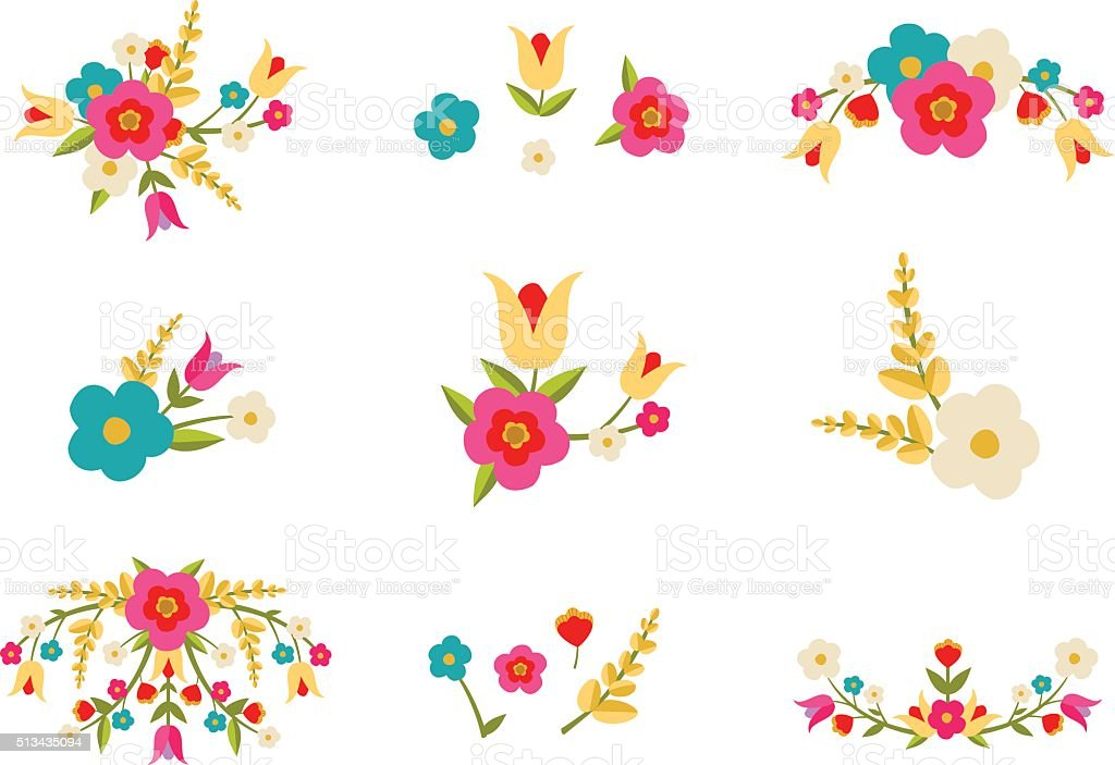Country Flowers vector art illustration