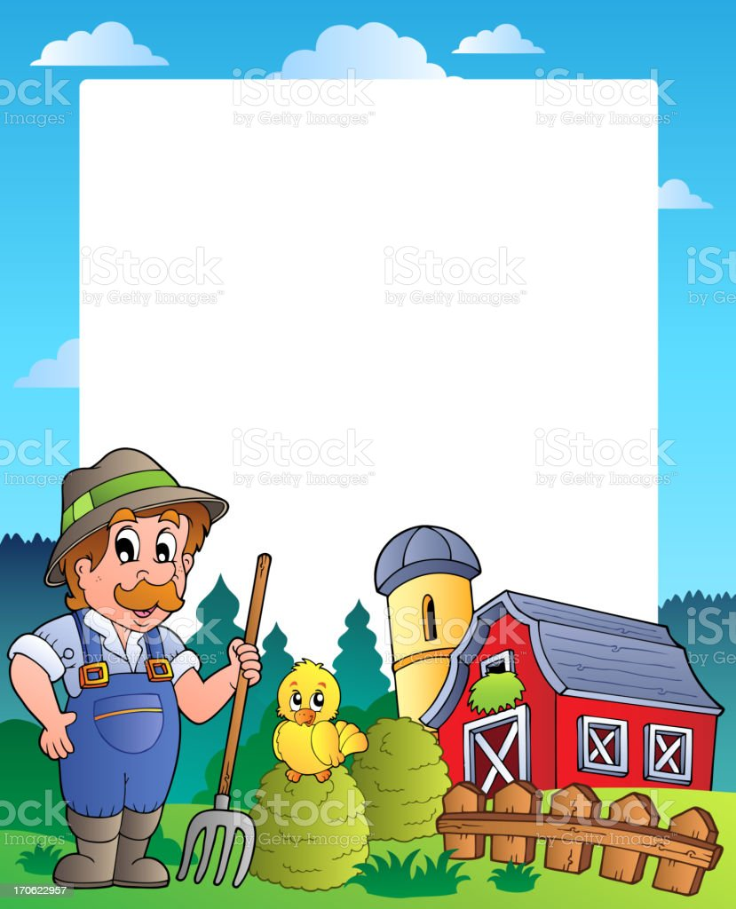 Country frame with red barn 2 vector art illustration