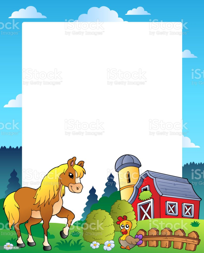 Country frame with red barn 4 vector art illustration