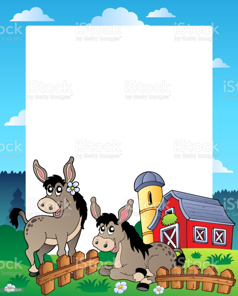 Country frame with red barn 5 vector art illustration