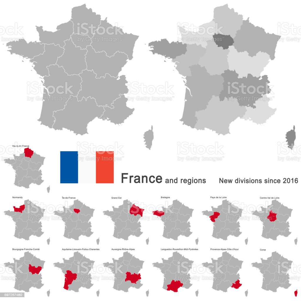 country France and regions since 2016 vector art illustration