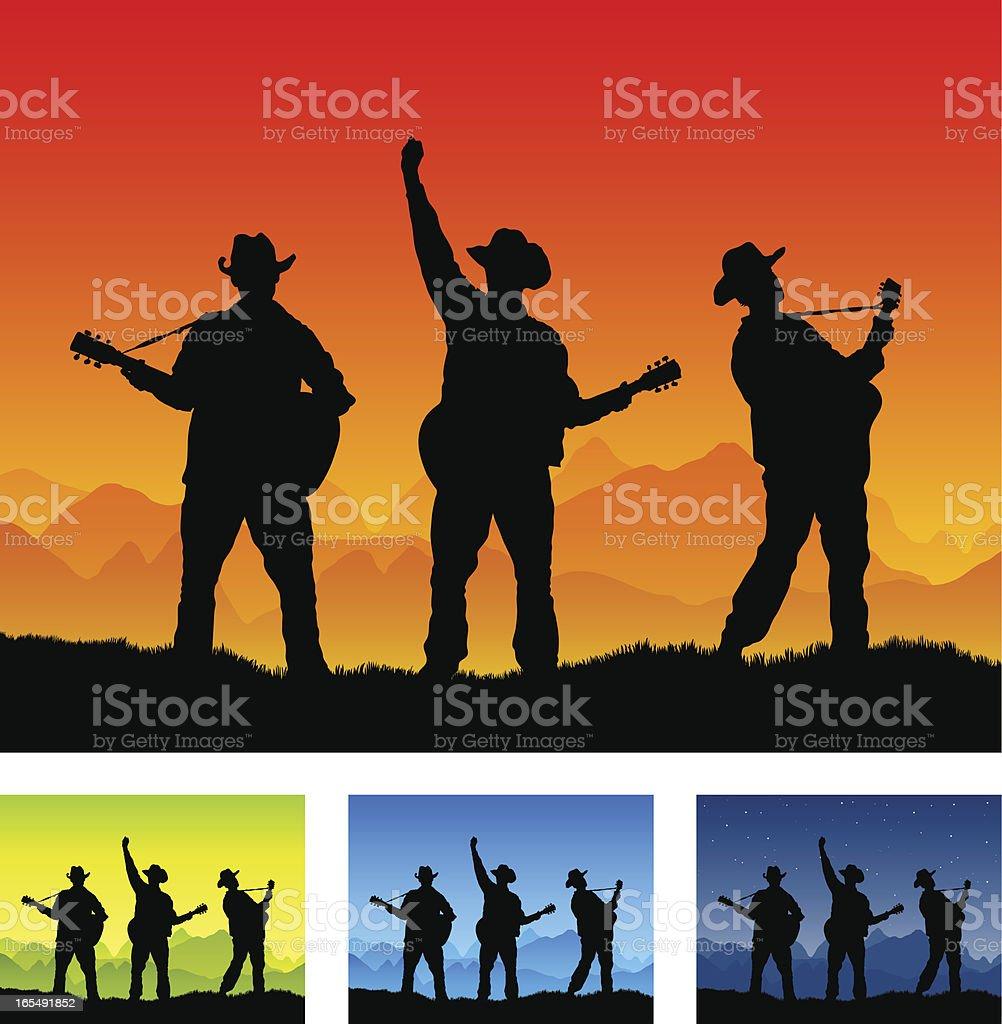 Country guitar band play all season royalty-free stock vector art