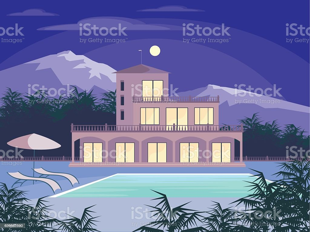 country house and mountains vector art illustration
