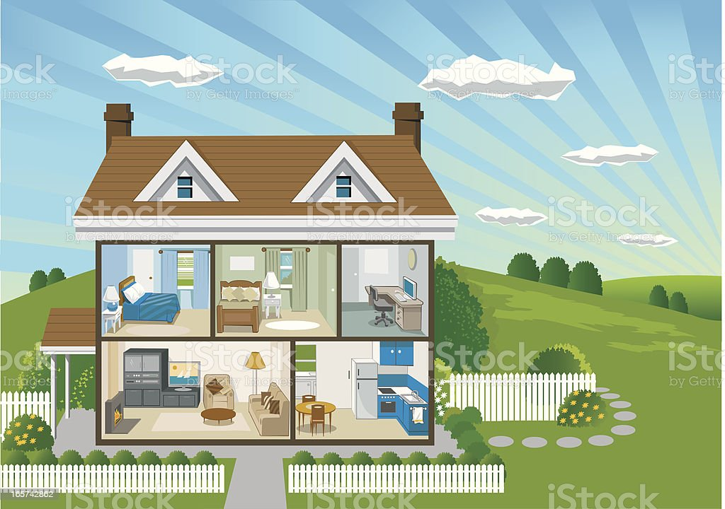 Country House Cross Section vector art illustration