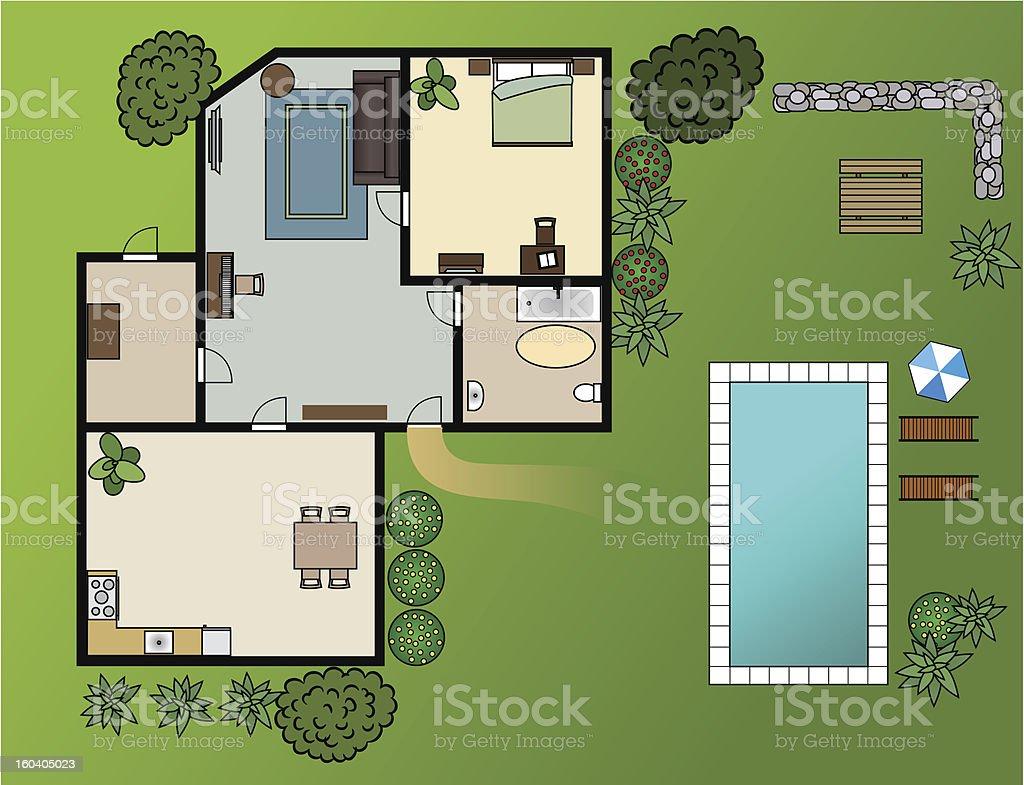 country house scheme with furniture, garden, vector royalty-free stock vector art