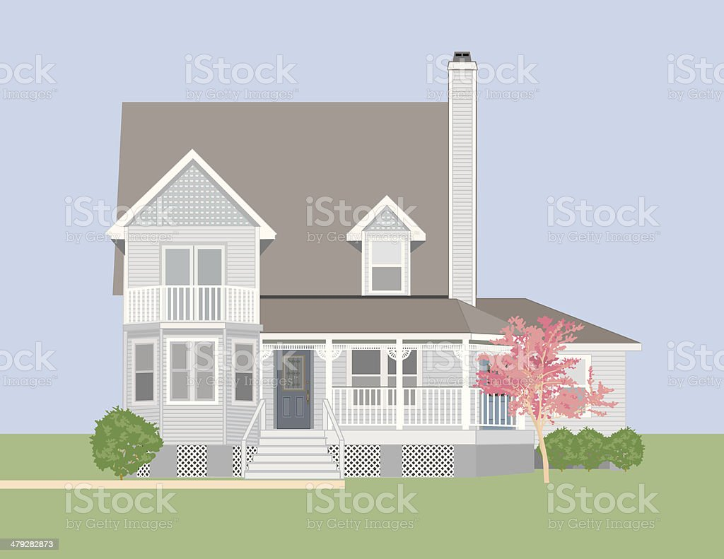Country House vector art illustration