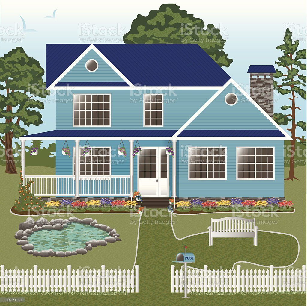 Country house with a white picket fence and a pond vector art illustration