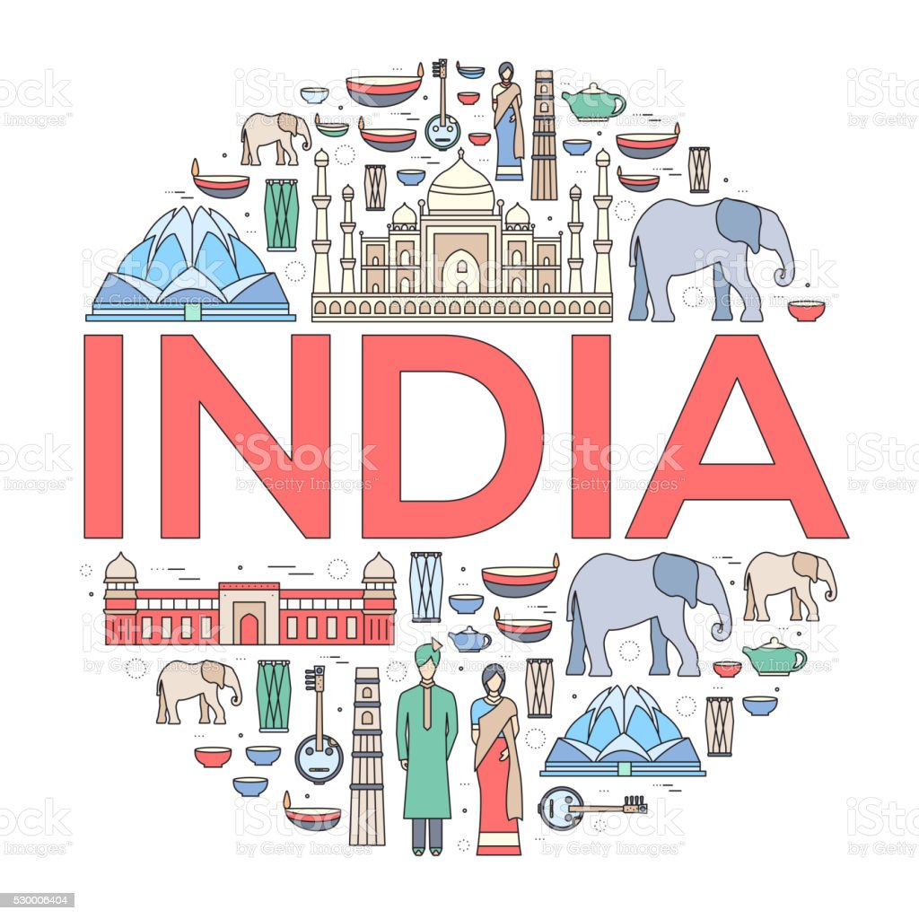 Country India travel vacation guide of goods, places and features vector art illustration