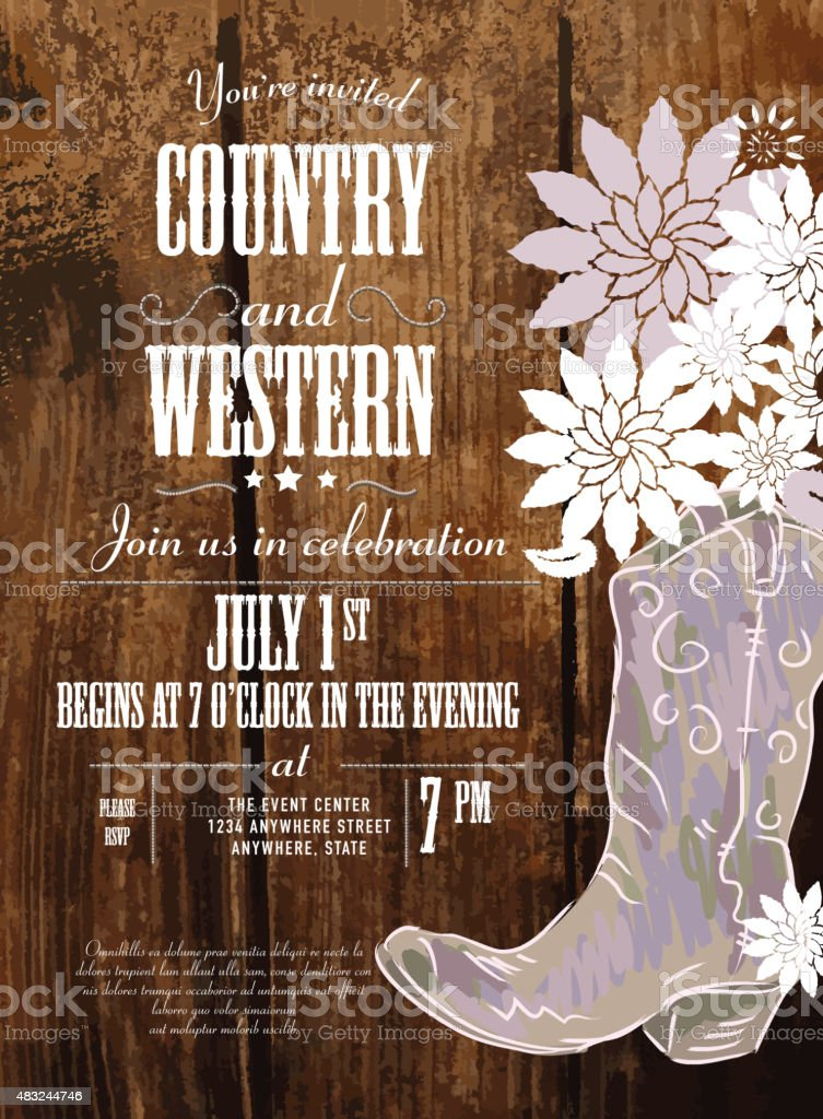 Country invitation design template boot and flowers vector art illustration