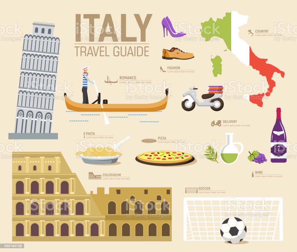 Country Italy travel vacation guide of goods, places and features vector art illustration