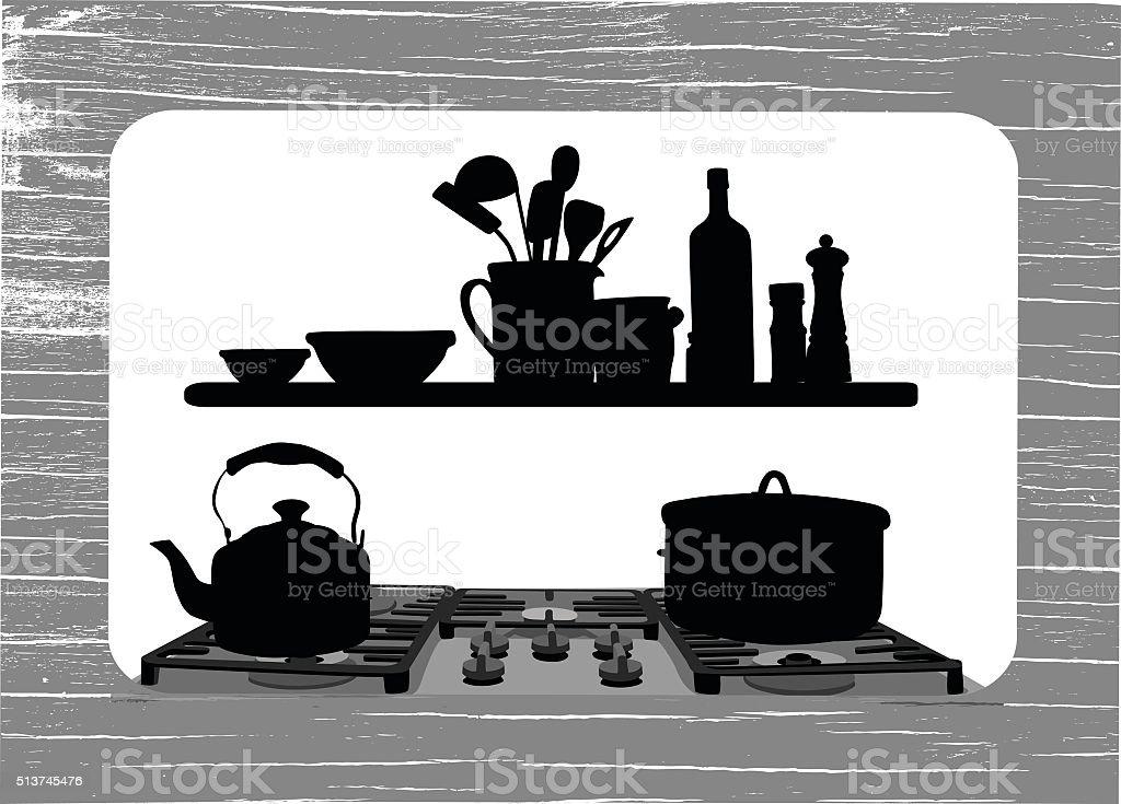Country Kitchen vector art illustration