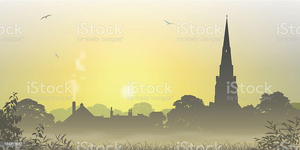 Country Landscape vector art illustration