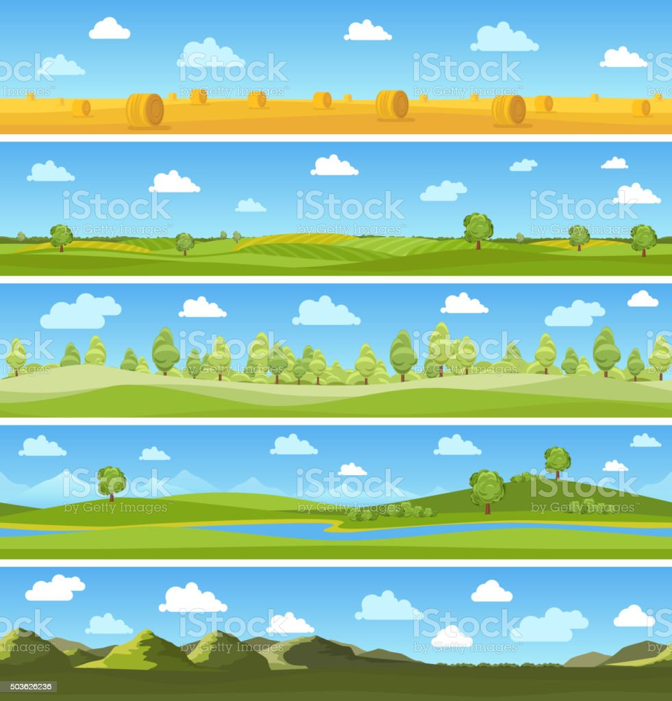Country landscapes set vector art illustration