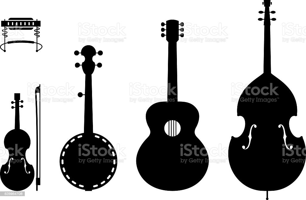 Country Music Instruments Silhouettes vector art illustration