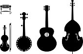 Country Music Instruments Silhouettes