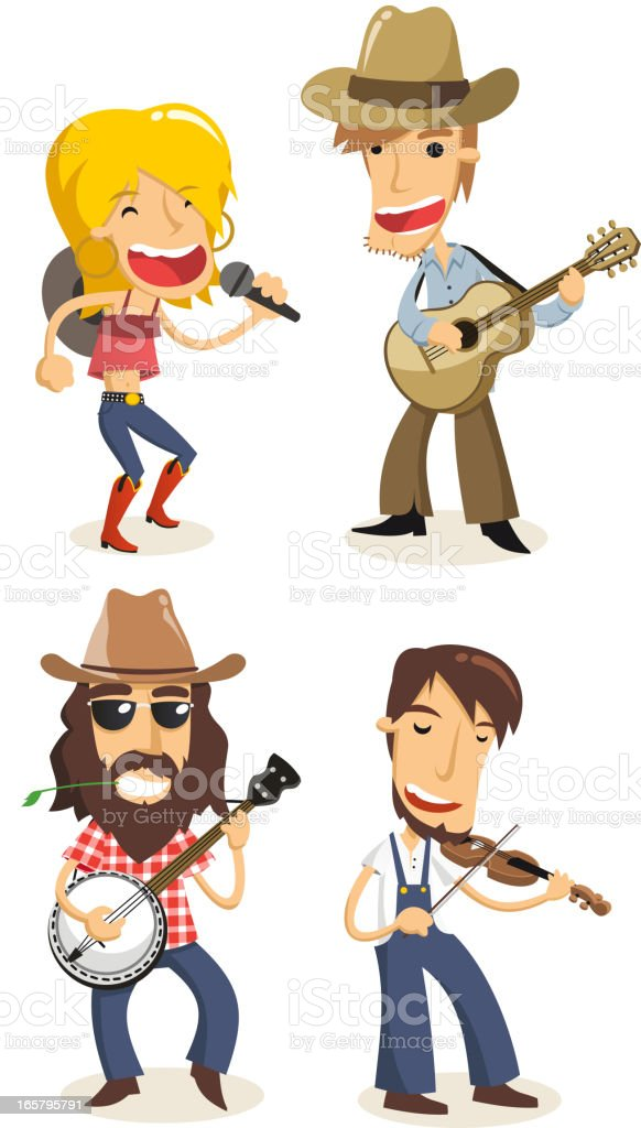 Country musicians vector art illustration