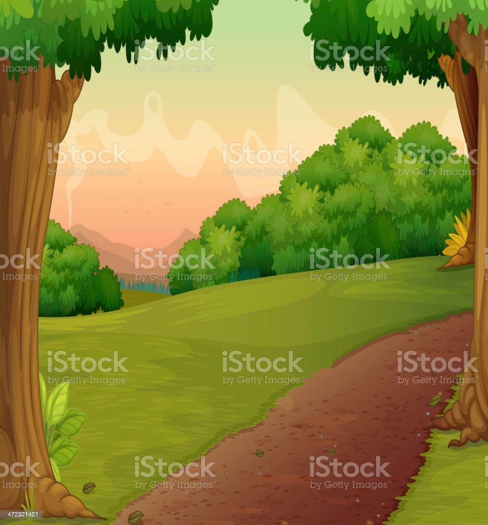Country path vector art illustration