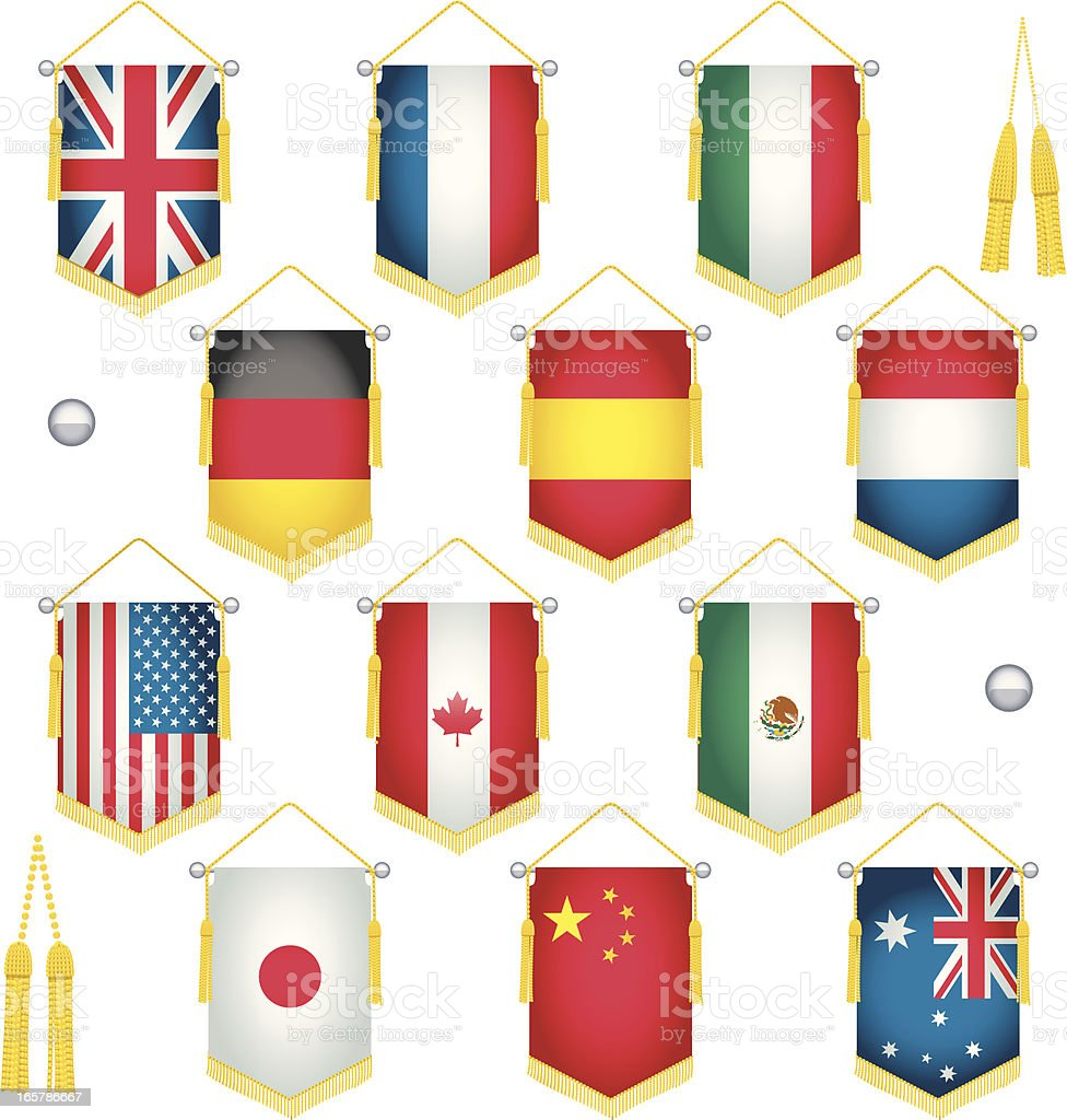 Country Pennant Flags royalty-free stock vector art