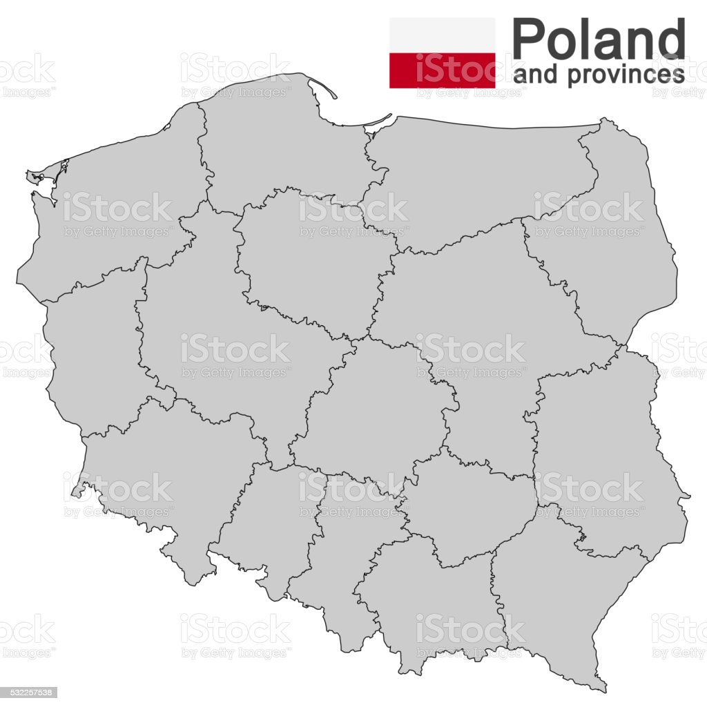 country Poland and voivodeships vector art illustration