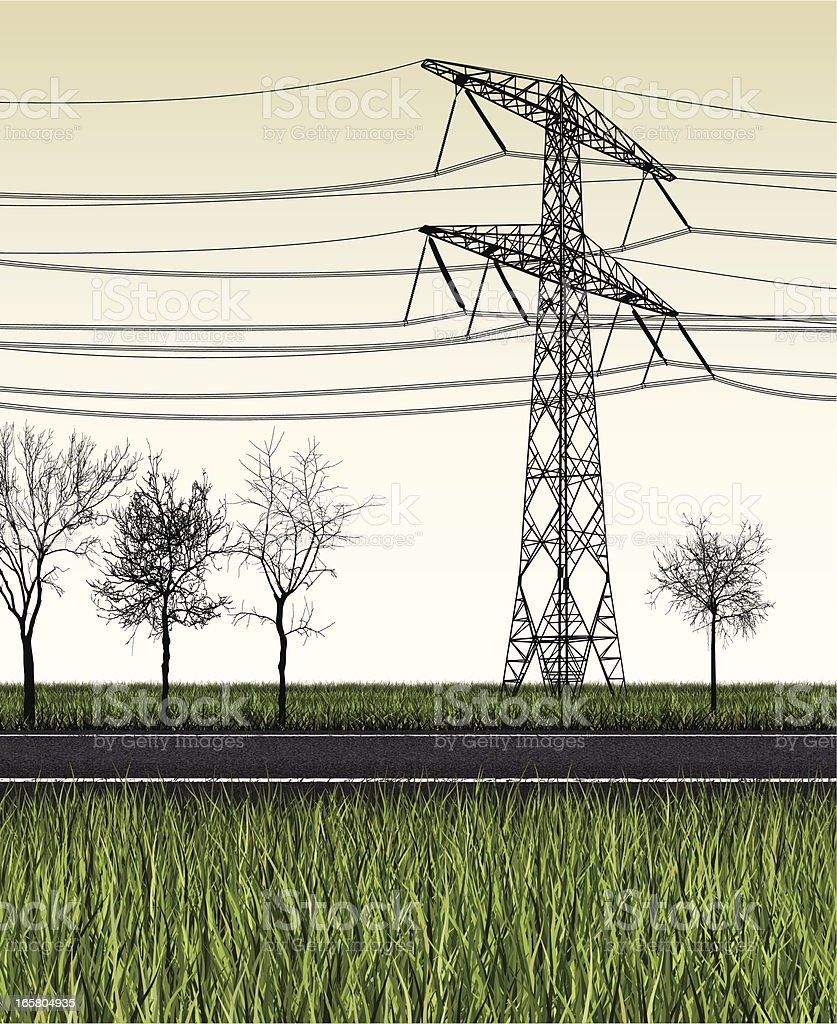 country road, electricity pylon and trees vector art illustration
