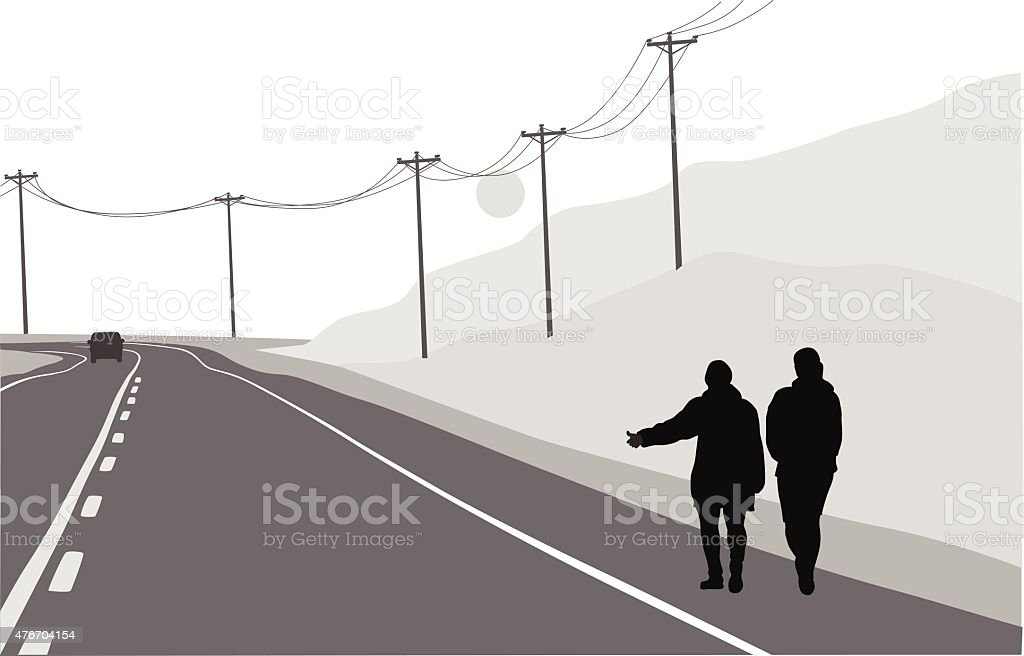 Country Road Hitchikers vector art illustration