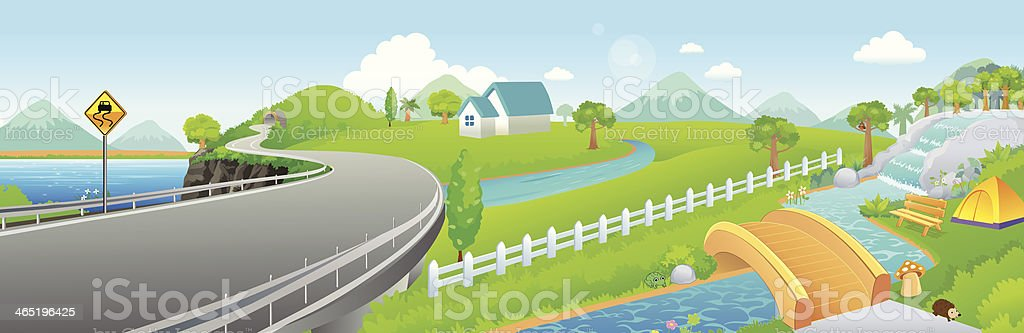 country road landscape - Illustration royalty-free stock vector art