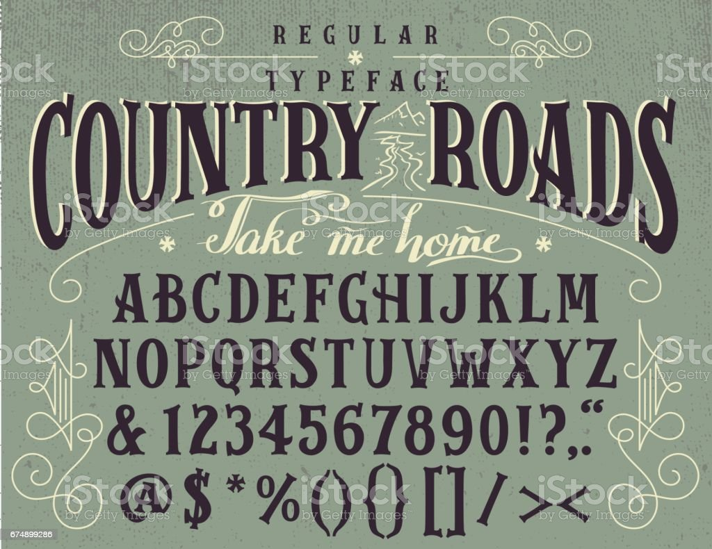 Country roads handcrafted retro typeface vector art illustration