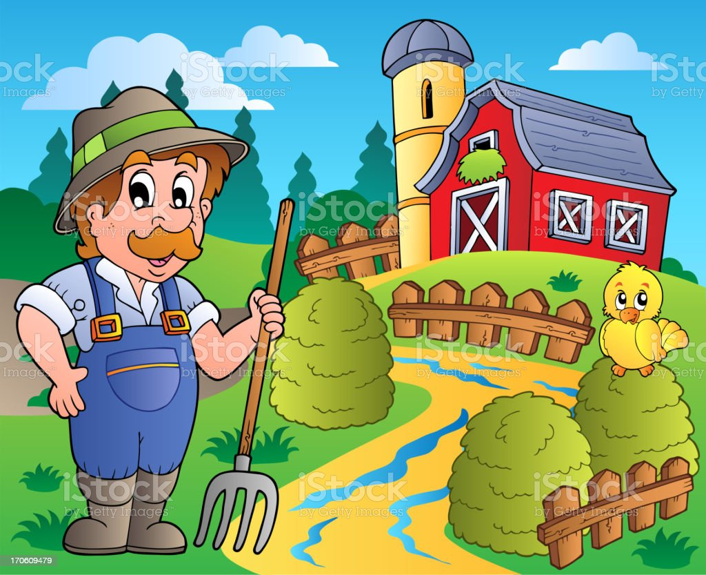 Country scene with red barn 3 vector art illustration