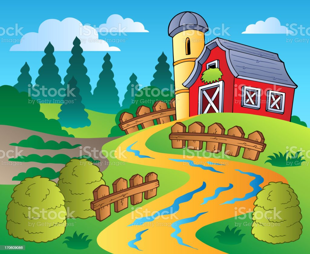Country scene with red barn 4 vector art illustration