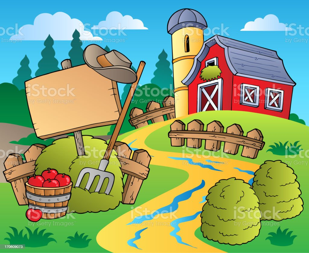 Country scene with red barn 5 vector art illustration
