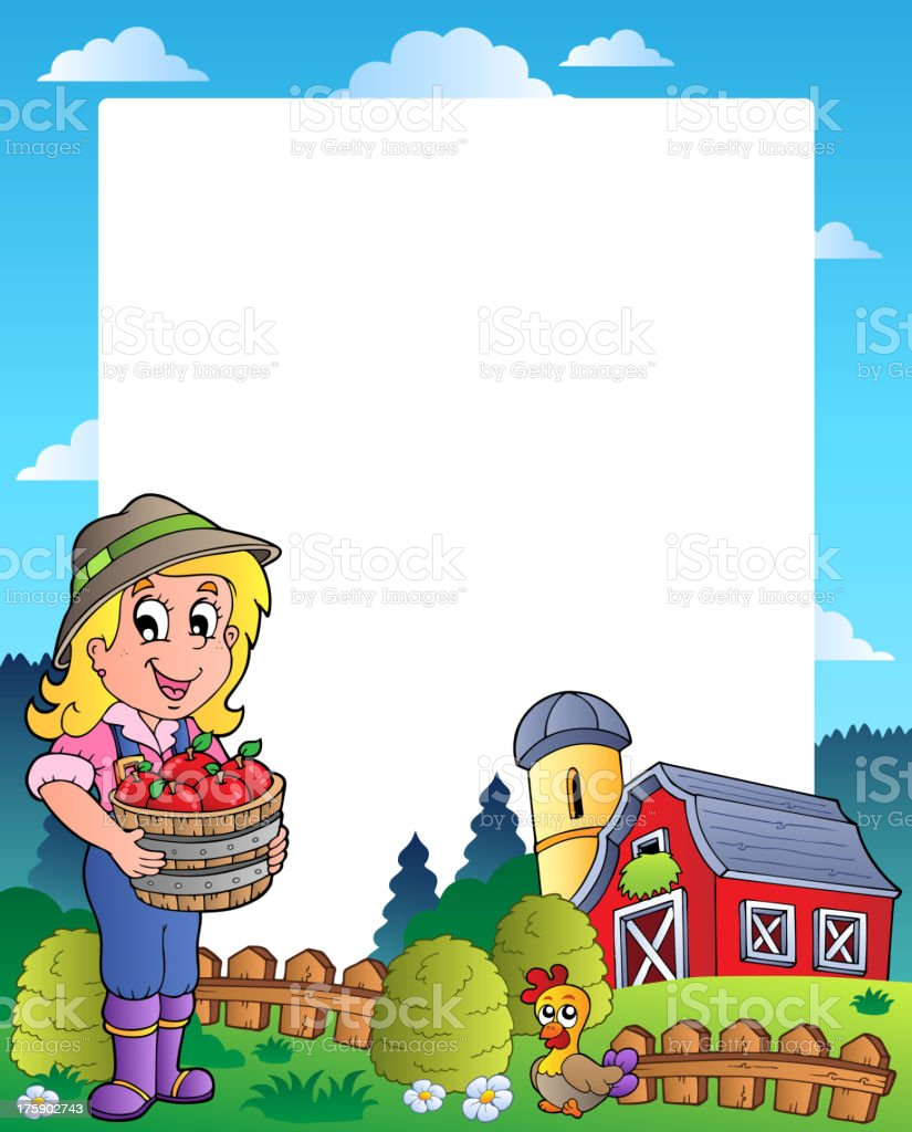 Country scene with red barn 6 vector art illustration