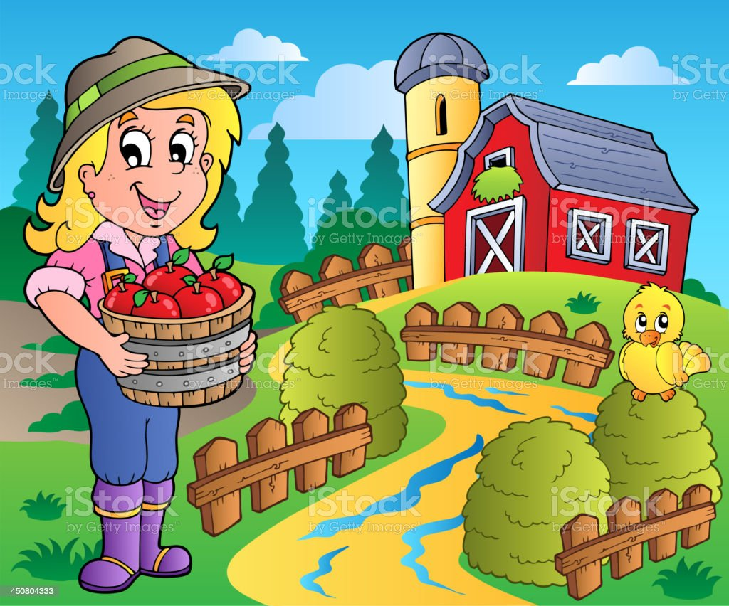 Country scene with red barn 7 vector art illustration