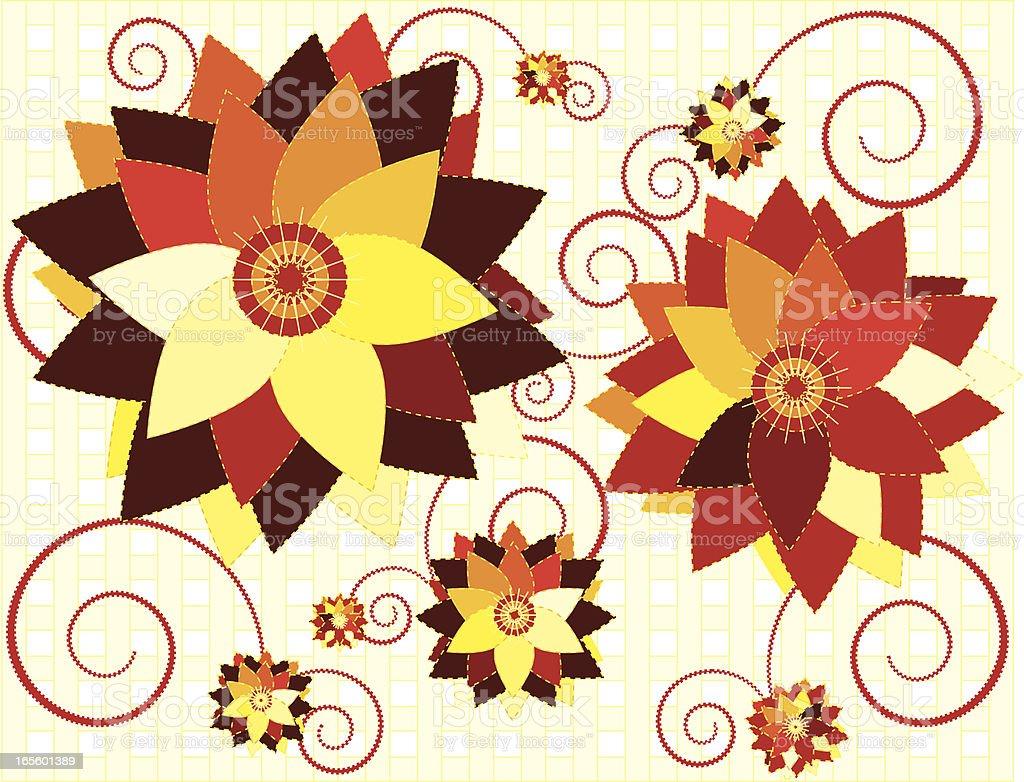 Land Stil Blumenmuster, Schnörkel, Hintergründe und Karomuster Lizenzfreies vektor illustration